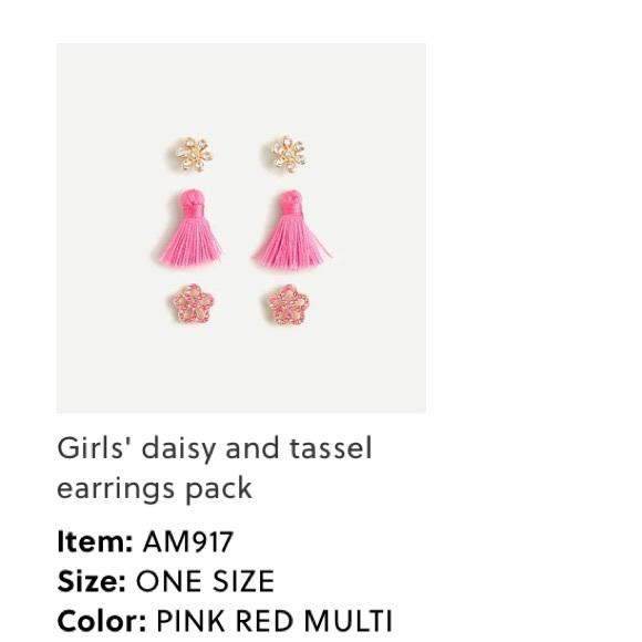 J crew girls 3 pack- earrings pink tassels flower